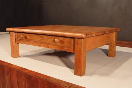 mesa cafetera central cuadrada con dos gavetas