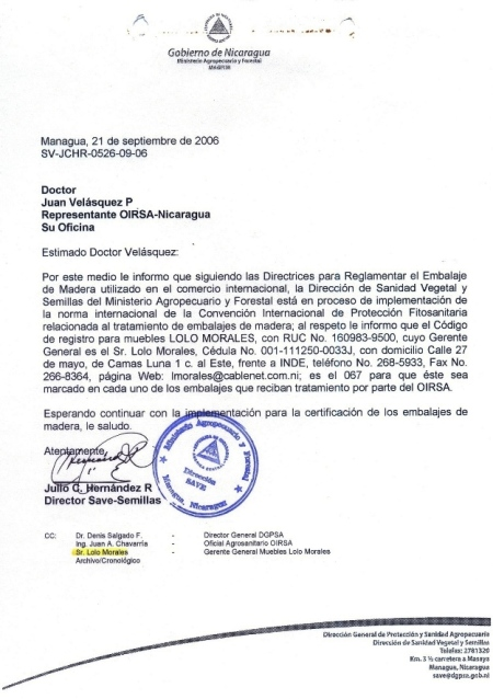 Certificado 067 OIRSA